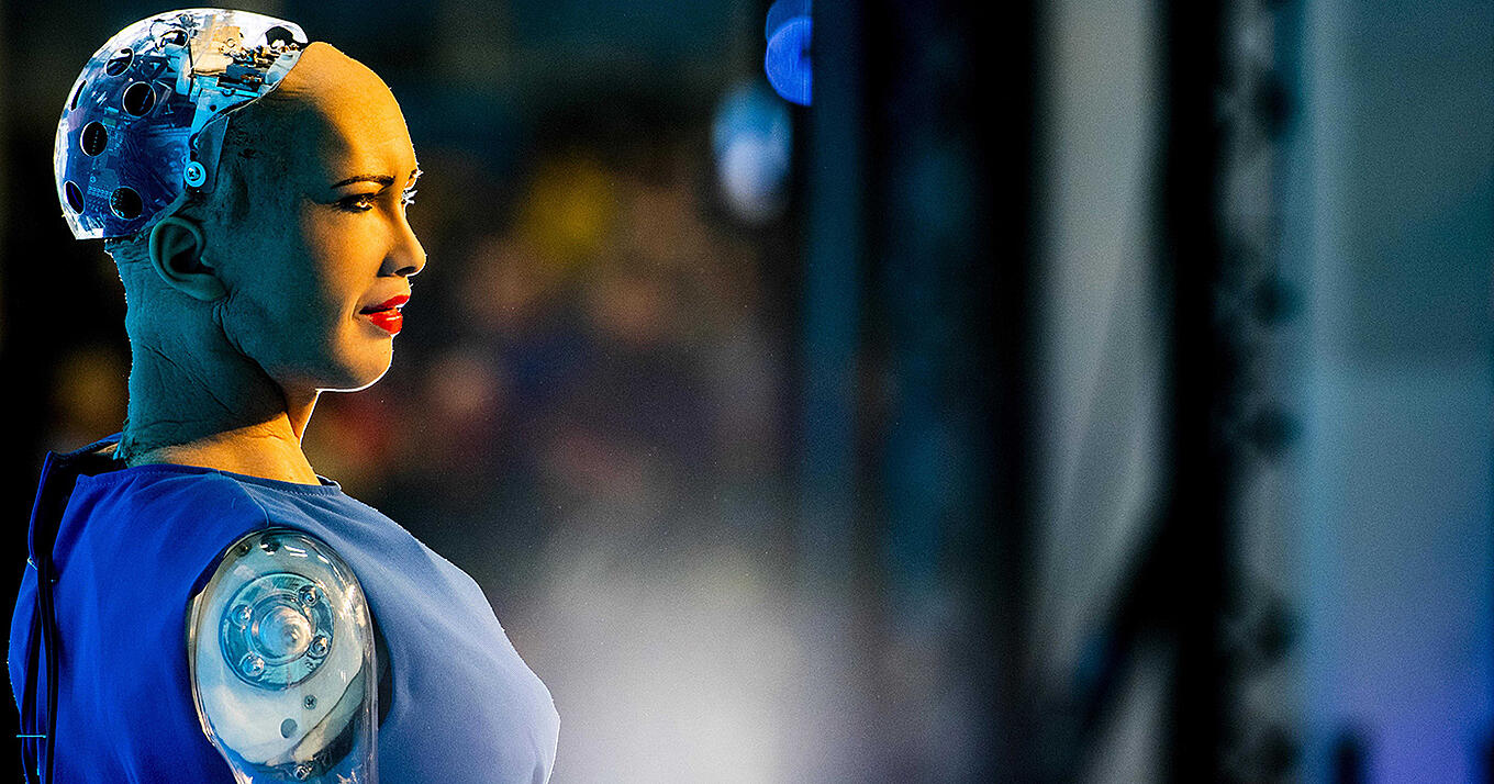 The Power of Humanity: On Being Human Now and in the Future - image of the humanoid robot Sophia by Hanson Robotics during a presentation at Techfestival Bright day 2018. EPA-EFEROBIN UTRECHT